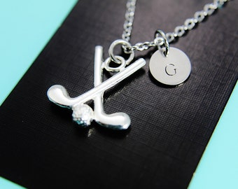 Golf Club Necklace, Golf Charm Necklace, Golf Jewelry, Initial Necklace, Personalized Necklace, Fathers Day Golf, Initial Charm