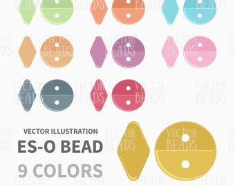 Two-hole Es-O Beads Clip Art Pack - Es-O Beads Vector Illustration - ai, eps, pdf, png