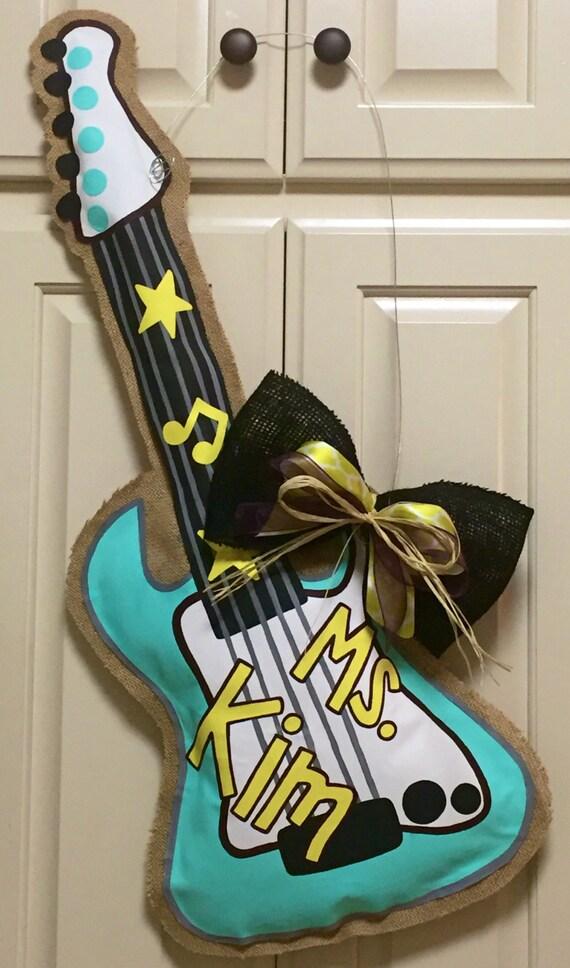 Rockstar Classroom Decor ~ Guitar burlap door hanger electric by julestrulydesigns