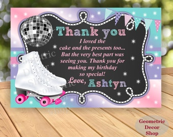 Thank you card Birthday Party cards Roller skating Digital Girl Pink Purple Aqua Green Roller skating Printable #THRS1