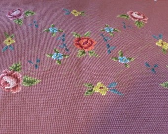 """Vintage Needlepoint  With Roses 23""""X17"""""""