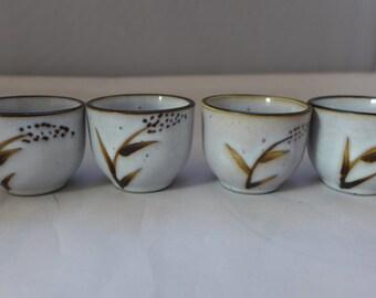Midcentury Set of 4 Ceramic Saki Cups Whit Leaf and X Design  Excellent