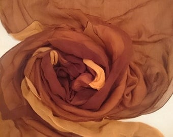 SOFT ORANGE/BROWN Rare 100% Silk Chiffon Scarf - Doubles (2 Dif Cols Hand Sewn Together) Unused and Perfect From 1970s