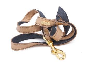 Dog Leash, Dog Lead, Leather dog lead, Leather Dog Lead, Leather Leash, Champagne Leather Dog Lead, Personalised Dog Leash Lurril, UK,