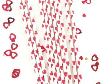 Red Heart Valentine Paper Straws