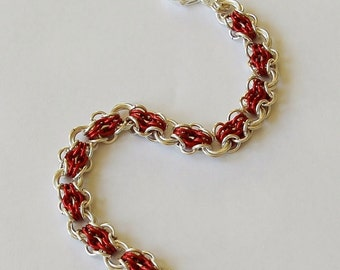 Silver and Red 'Butterfly' Chainmaille Bracelet