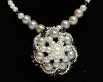 Black, White & Gray Pearl Necklace with Pendant