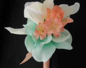 Peach Coral Mint Cream Cymbidium Orchid Groom Wedding Boutonniere