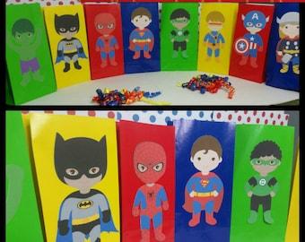 10 Superhero Favor/Snack Bags, Superhero  Party Bags