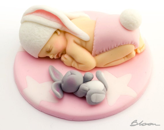 Baby bunny cake topper cake topper baby shower fondant for Baby footprints cake decoration