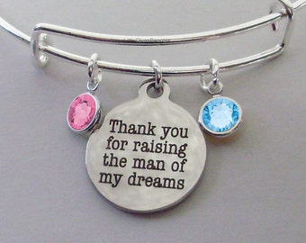 Thank You For Raising The  Man of My Dreams Charm Bracelet W/ Birthstone Drop / Mother In Law Bangle / Gift For Her  Usa F1