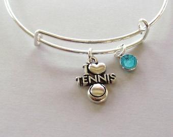I LOVE TENNIS  Bangle / Bracelet  W/ A Birthstone /  Charm Bangle Under Twenty / Sports Team Gift For her  Usa sp1