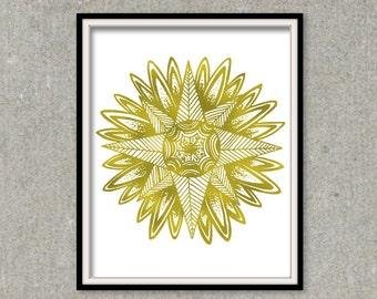 Sunburst Wall Art Gold Foil Print, Hand drawn Pattern Design in Real Foil