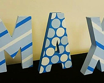 Freestanding letters - Nursery letters - Personalised names - Spots and stripes - Boys bedroom decor