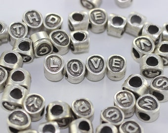 1 pc antique silver alphabet beads 7.5x8.5mm - alphabet letters beads - initial charm beads - beads for European style bracelets neckalce