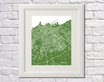 Casablanca Street Map Print Map of Casablanca City Street Map Morocco Poster Moroccan Wall Art 7087P