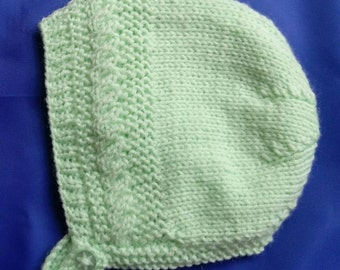 Baby's Bonnet with Cable Pattern