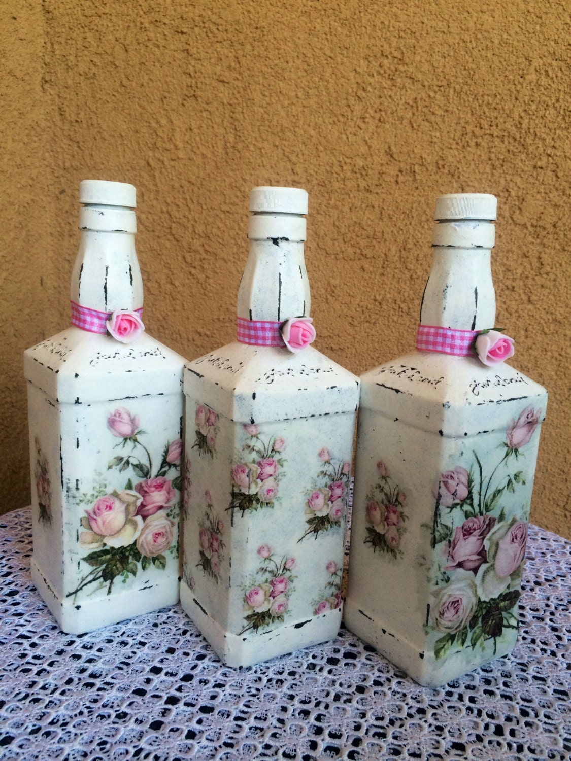decorative decoupage bottle kitchen decor decoupage flower