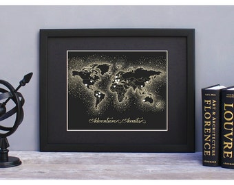 DIY Travel World Map Kit - Black & Gold Dots - Travel Map Kit Mini-Heart Stickers Included!