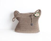 Vintage Creme Woven Crossbody Purse, Women's Brown Shoulder Bag