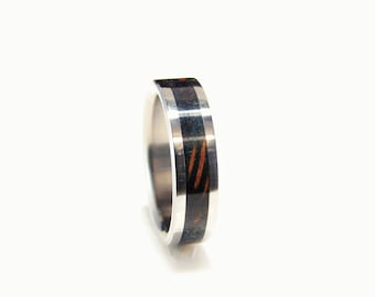Blue stabilized redwood Burl inlay and titanium ring, wood inlay ring, blue burl, wedding ring, wedding band, blue wood ring