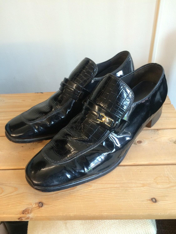size 14 70s s platform disco shoes black patent