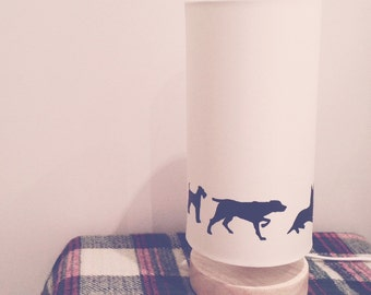 Exploring Dogs Silhouette on Cream, Large Cylinder, Wooden Base Lamp