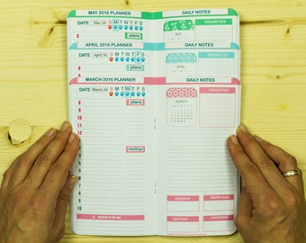 Personal Size Midori Inserts Set of Any Three Months Planner 2018