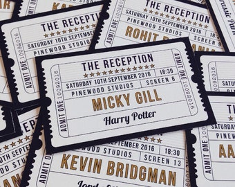 50 Flat Movie / Cinema / Film themed table place cards