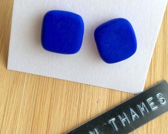 Azure Blue Square Stud Earrings
