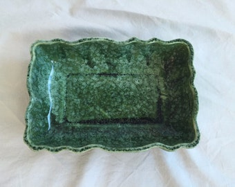 Vintage Imperial USA Pottery Green Specked Finish Planter Bowl F37