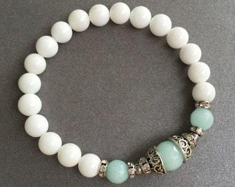 Womens Bracelet for girl Gift Tibetan bracelet Yoga Bracelet Stretch Bracelet for her Beaded Bracelet White Jade Bracelet Healing Bracelet
