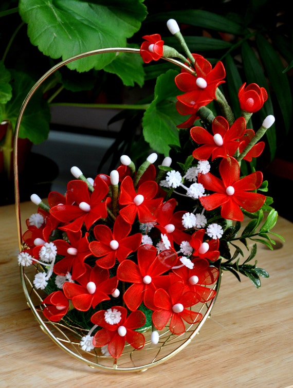 Handmade Nylon Basket : Items similar to flower basket amaryllis bouquet