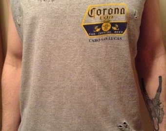 Destroyed Shredded Gray Corona Extra Cabo Tank Top