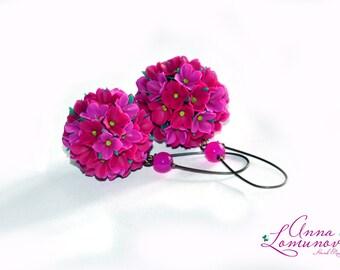 Pink floral Ball Earrings, Purple Ball Earrings, Pink Floral Earrings, Pink lilac earrings, Floral Earrings, Earrings Drop Earrings