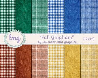 Fall Gingham and Plaid Digital Scrapbook Background Papers in Colors of Blue, Green, Red, and Yellow - Instant Download, Commercial Use