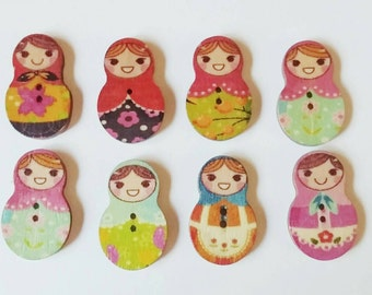 Russian Doll Buttons x 8
