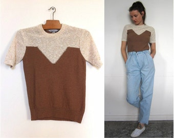 knit short sleeve loop beige and Brown