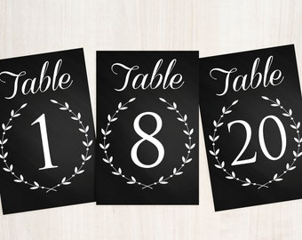 Chalkboard Table Numbers, Printable Table Numbers, Wedding Table Numbers, Rustic Table Numbers, Event Table Numbers, Black and white