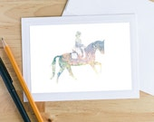 Horse Greeting Card, Double Exposure Notecard, Equine Greeting Cards, Horse Photograph, Photo Note Cards, Dressage and Trees