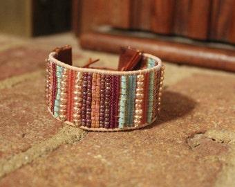 Woven bead cuff bracelet