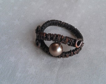 wire wrapped ring , copper ring , handmade ring , handmade jewelry