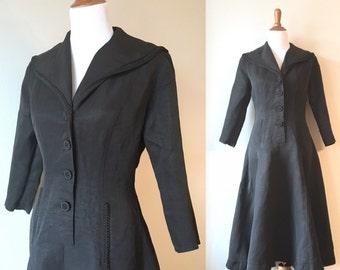 Black vintage dress. Vintage dress. Vintage acetate dress. Long sleeve dress. Sailor collar dress. Vintage maxi dress. 70s dress.