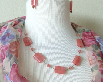 Watermelon Quartz Necklace and Earrings Set