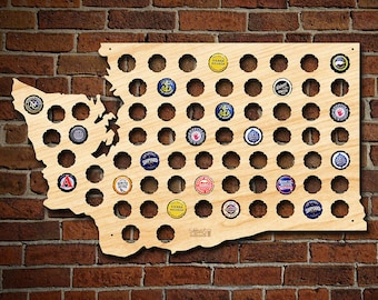 Washington Beer Cap Map - Hand-Made in USA - Engravable WA Beer Cap Holder, Craft Beer Gifts for Men, Dad, Cool Gifts Football Fans