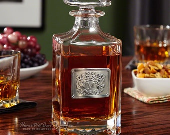 Royal Crested Carson Whisky Decanter - Unique Personalized Whiskey Decanter - Great Gifts for Men Brother Dad and Boyfriend