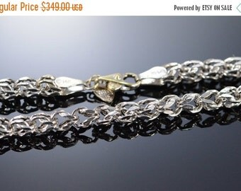 "1 Day Sale 14K Fancy Link Necklace 18"" White Gold"