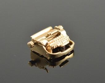 14K 3D Articulated Vintage Typewriter Charm/Pendant Yellow Gold - EM270