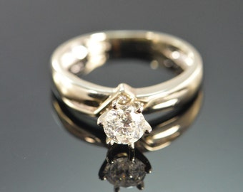 14K 0.82 CT H / I2 Diamond Solitaire Engagement Ring Size 7 White Gold