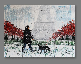"""Original winter cityscape, acrylic painting on deep edged canvas,""""Paris in snow, dog"""" contemporary, abstract, 30 x 40 inches"""